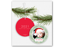 """Be merry Wreath"" Photo Ornament Holiday Card"